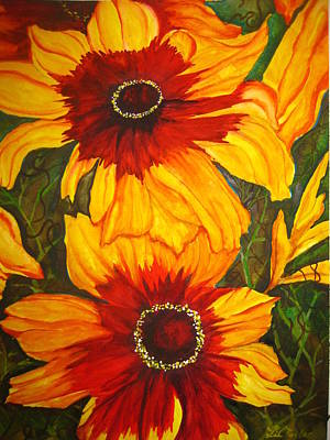 Poster featuring the painting Blanket Flower by Lil Taylor