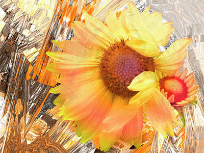 Blanket Flowers In The Wind - Floral Abstract Poster