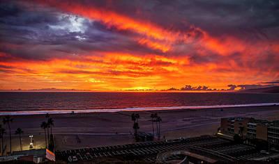 Blazing Sunset Over Malibu Poster