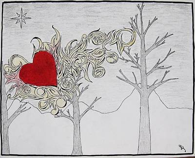 Poster featuring the drawing Bleeding Heart by Daryl Chakravarthy