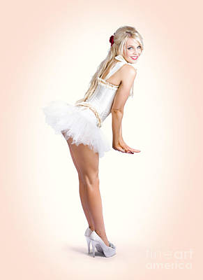 Blond Fashion Pin-up Woman In White Dancer Dress Poster