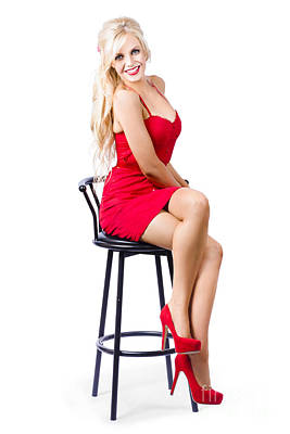 Blond Female Bistro Babe On Bar Stool In Red Dress Poster
