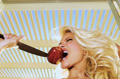 Blonde And Red Apple Poster