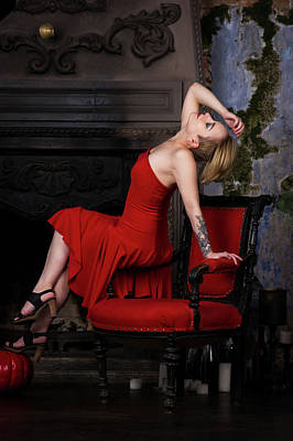 Blonde Girl In Red Dress Poster