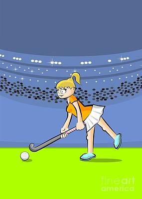 Blonde Girl Playing Field Hockey Hits The Ball With Her Stick Poster