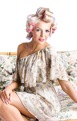 Blonde Woman In Curlers Poster by Jorgo Photography - Wall Art Gallery