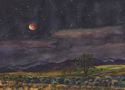 Blood Moon Over Boulder Poster by Anne Gifford
