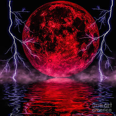 Blood Moon Over Mist Lake Poster by Naomi Burgess