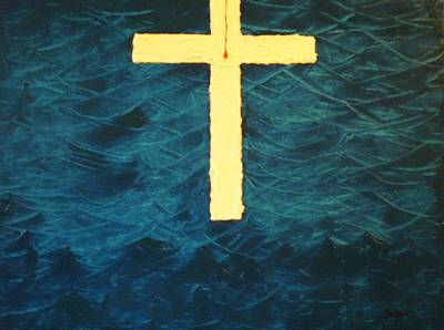 Blood Stained Cross Poster by Barbara Hayes