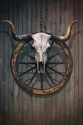 Bloody Bull Skull Poster by Carlos Caetano
