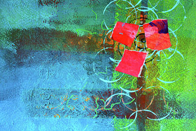 Poster featuring the mixed media Bloom Abstract Collage by Nancy Merkle
