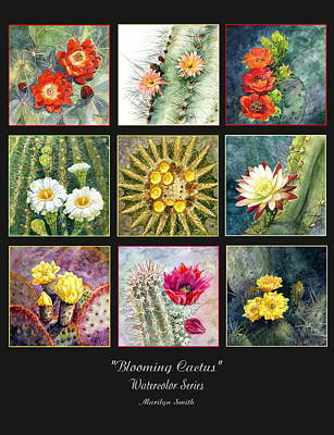 Poster featuring the painting Blooming Cactus by Marilyn Smith