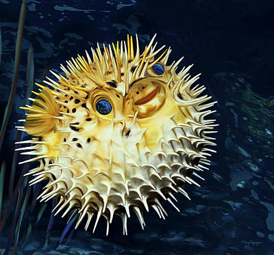 Poster featuring the digital art Blowfish by Thanh Thuy Nguyen