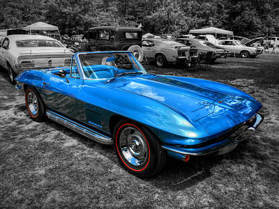 Blue '67 Corvette Stingray 001 Poster by Lance Vaughn
