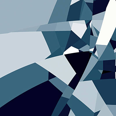 Blue Abstract 2 Poster by GuoJun Pan