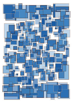 Blue Abstract Patches Poster by Frank Tschakert