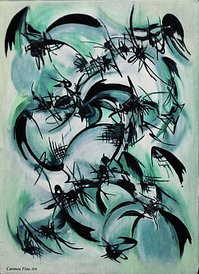 Poster featuring the painting Blue Abstraction by Carmen Fine Art
