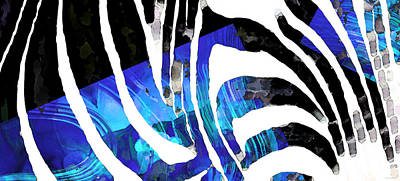 Blue And Black Abstract Art - Sharon Cummings Poster