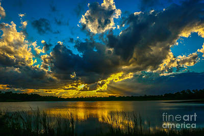 Blue And Gold Sunset With Rays Poster by Tom Claud