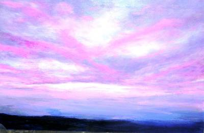 Poster featuring the painting Blue And Pink Sky by Marie-Line Vasseur