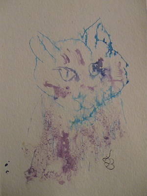 Poster featuring the drawing Blue And Purple Cat by AJ Brown