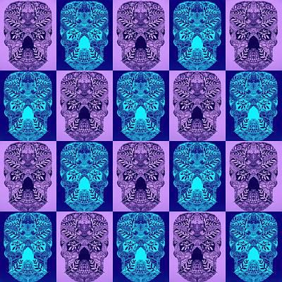 Blue And Purple Skulls Poster