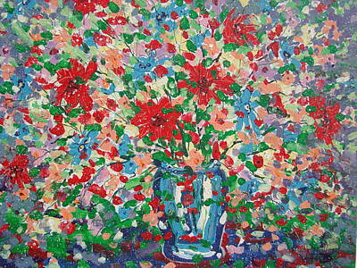 Blue And Red Flowers. Poster