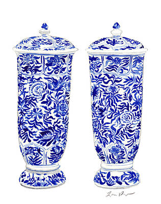 Blue And White Chinoiserie Vases Poster by Laura Row