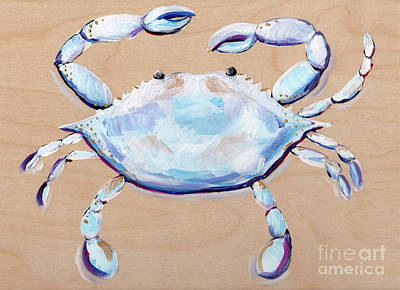 Blue And White Crab Poster by Anne Seay