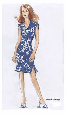Blue And White Dress Illustration Poster