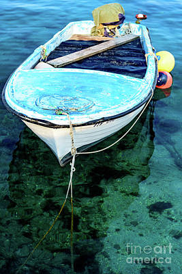 Blue And White Fishing Boat On The Adriatic - Rovinj, Croatia Poster
