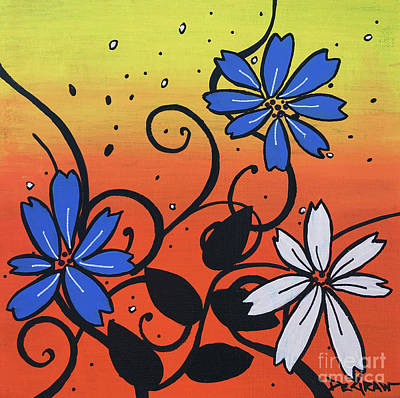 Blue And White Flowers Poster