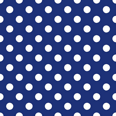 Blue And White Polka Dots- Art By Linda Woods Poster by Linda Woods