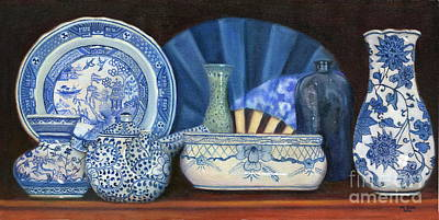 Blue And White Porcelain Ware Poster by Marlene Book