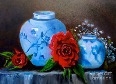 Blue And White Pottery And Red Roses Poster