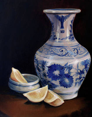 Blue And White Pottery With Lemons Poster by Laura Ury