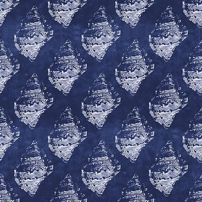 Blue And White Seashells 1- Art By Linda Woods Poster by Linda Woods
