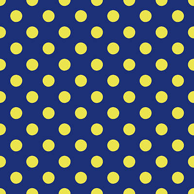 Blue And Yellow Polka Dots- Art By Linda Woods Poster by Linda Woods