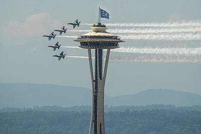 Blue Angels And The Ken Griffey Jr Flag Poster