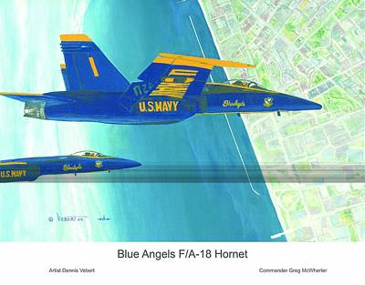 Blue Angels Poster by Dennis Vebert
