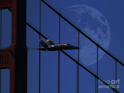Blue Angels Golden Gate Bridge And The Night Moon Poster