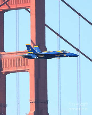 Blue Angels No.1 Crossing The Golden Gate Bridge Poster by Wingsdomain Art and Photography
