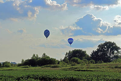Poster featuring the photograph Blue Balloons Over A Field by Angela Murdock