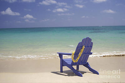 Blue Beach Chair Poster by Dana Edmunds - Printscapes