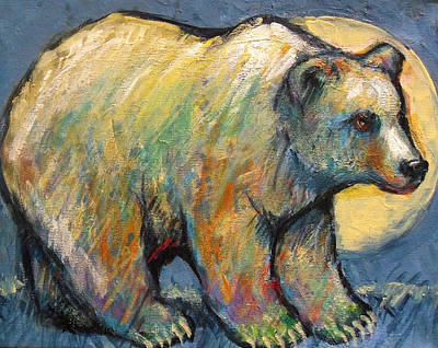 Blue Bear Grizzly Bear In A Full Moon Poster