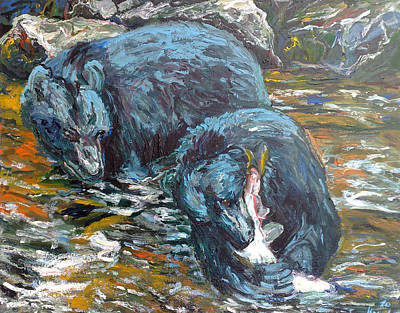 Poster featuring the painting Blue Bears Fishing by Koro Arandia