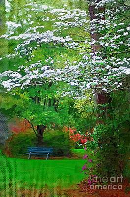 Poster featuring the photograph Blue Bench In Park by Donna Bentley