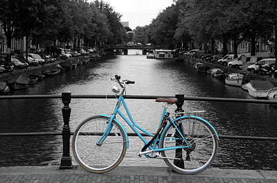 Blue Bicycle By The Canal Poster