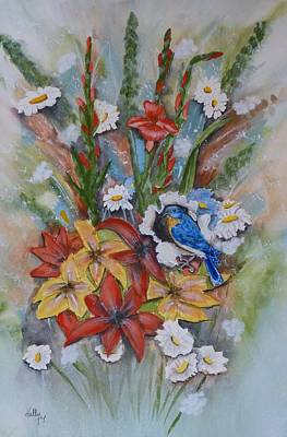 Poster featuring the painting Blue Bird Eats Thru The Painting by Kelly Mills