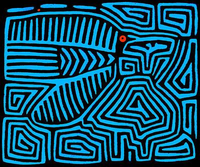 Poster featuring the digital art Blue Bird Mola by Vagabond Folk Art - Virginia Vivier